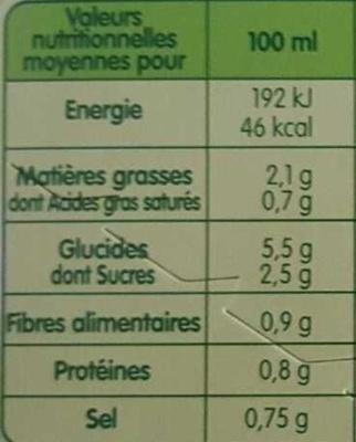 Pur Soup' - Velouté de 10 Légumes - Informations nutritionnelles