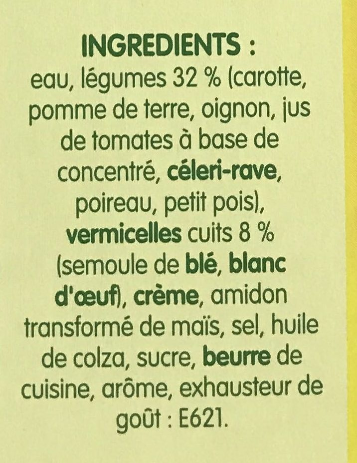 Légumes et Vermicelles - Ingrediënten - fr