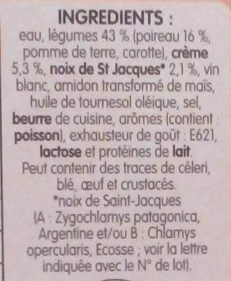 Fondue de Poireaux aux St Jacques - Ingredients