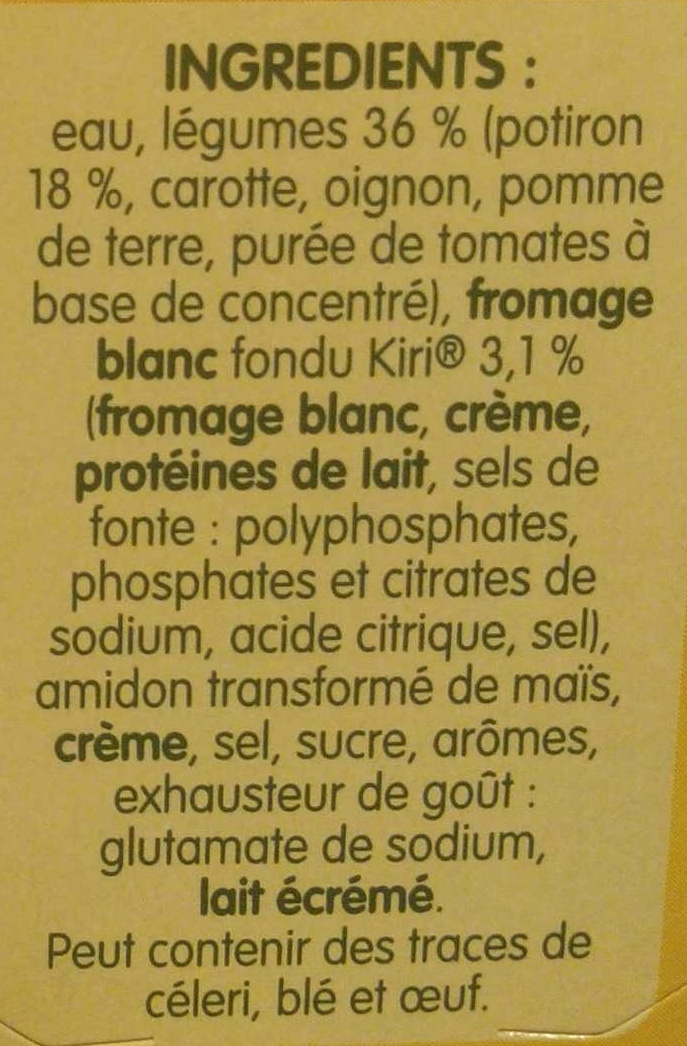 Doux Plaisir Potiron et Kiri - Ingrédients - fr
