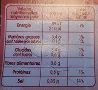 Soupe à la chinoise légumes et vermicelles - Informations nutritionnelles - fr