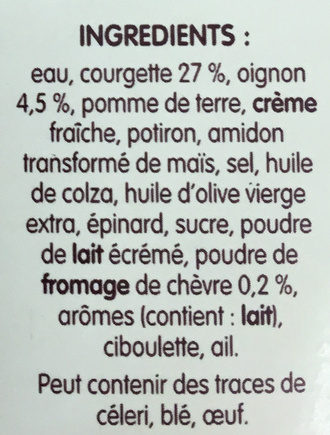 Délice de Courgettes au Chèvre - Ingredients