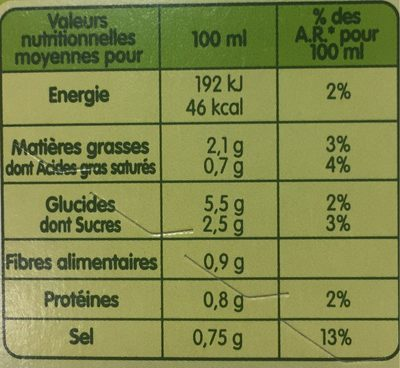Pursoup' Velouté de Légumes - Nutrition facts