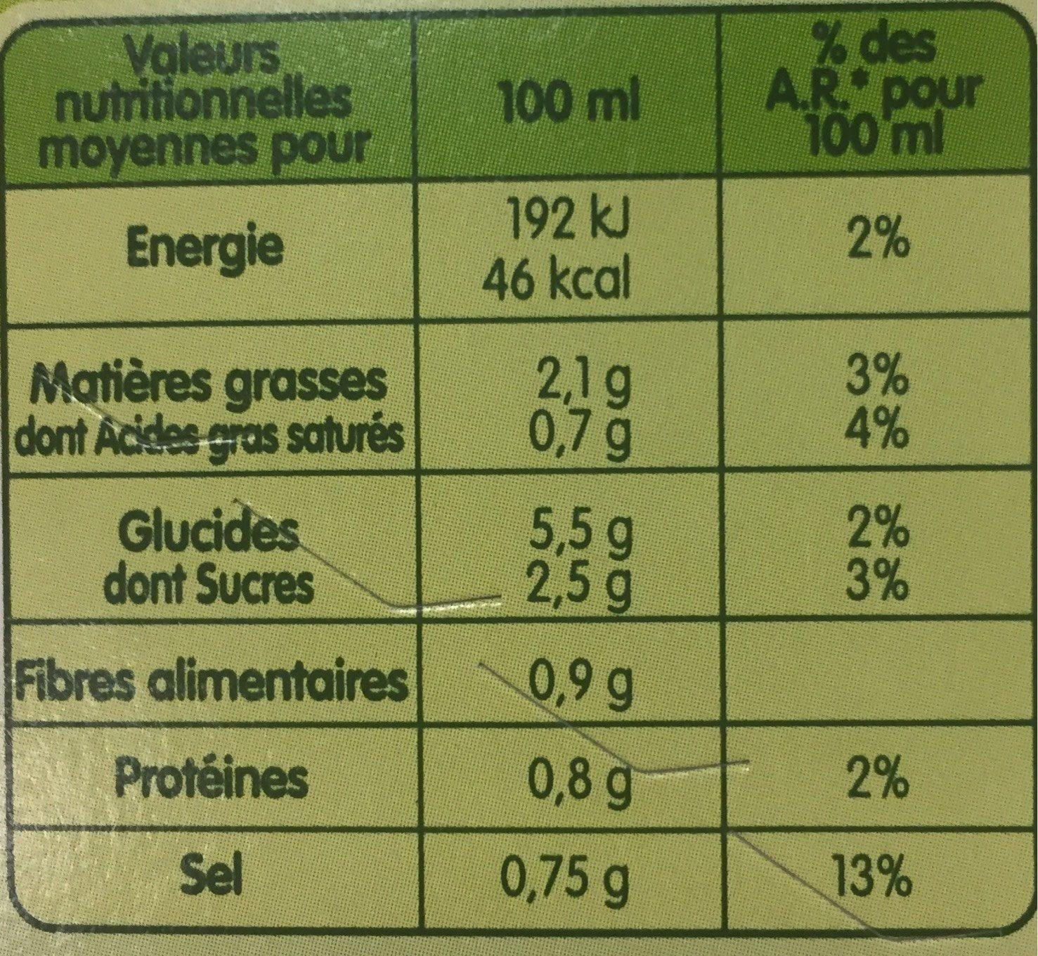 Pursoup' Velouté de 10 Légumes - Nutrition facts
