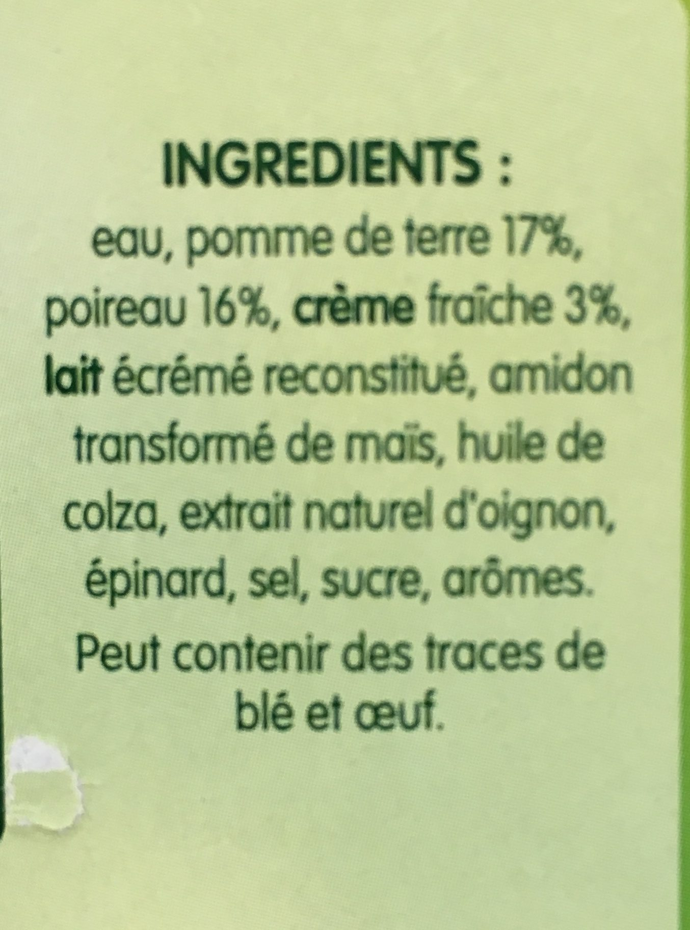 Soupe poireaux pomme de terre - Ingrédients