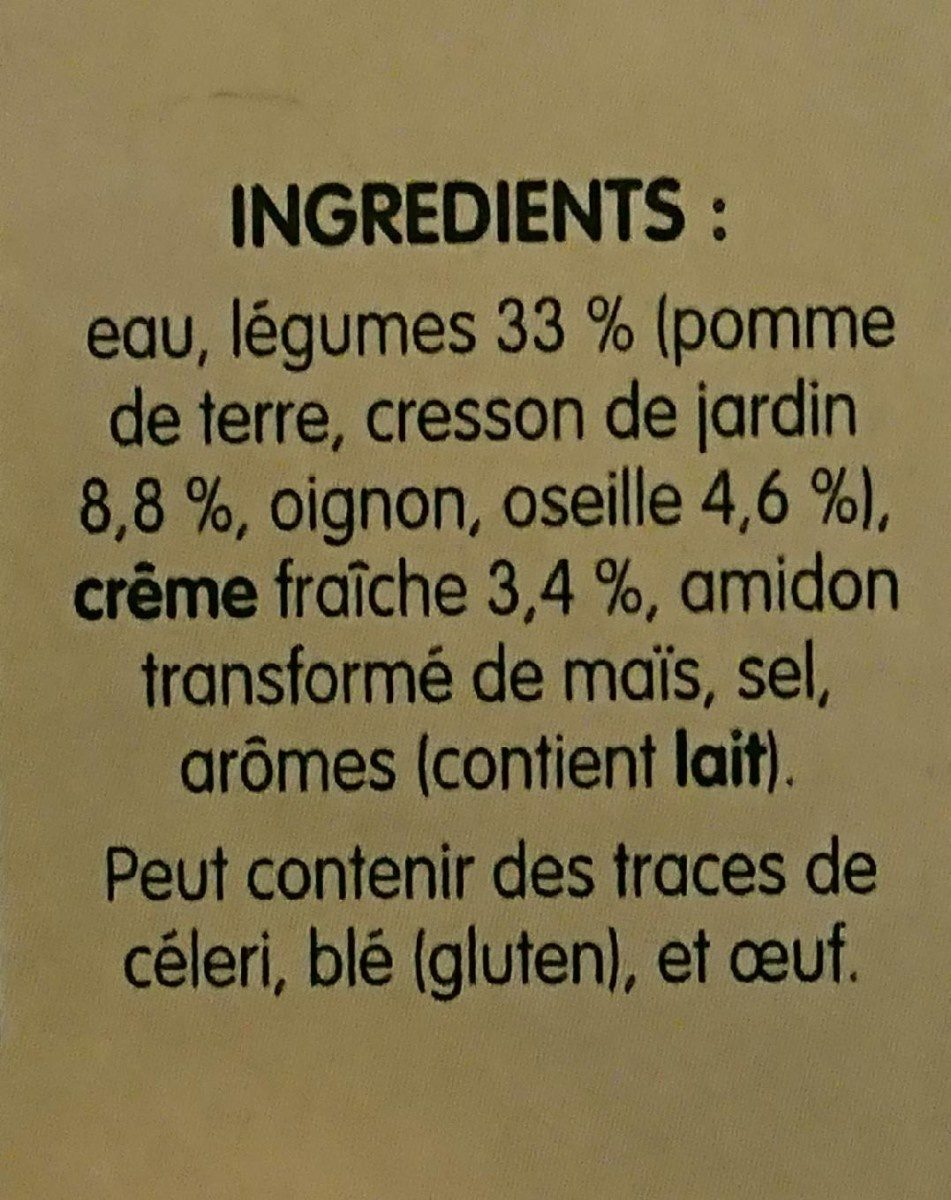 Soupe Oseille Cresson - Ingredients