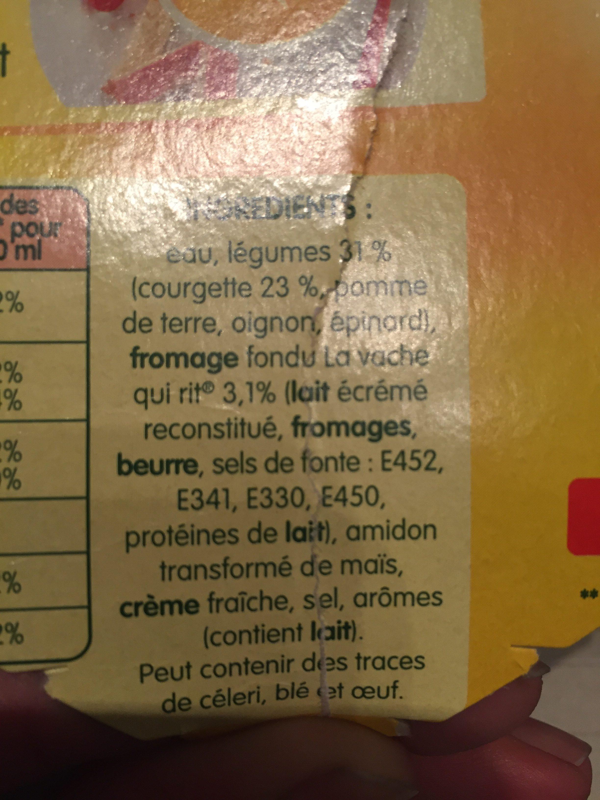 Soupe courgettes au fromage La Vache qui rit - Ingrédients - fr