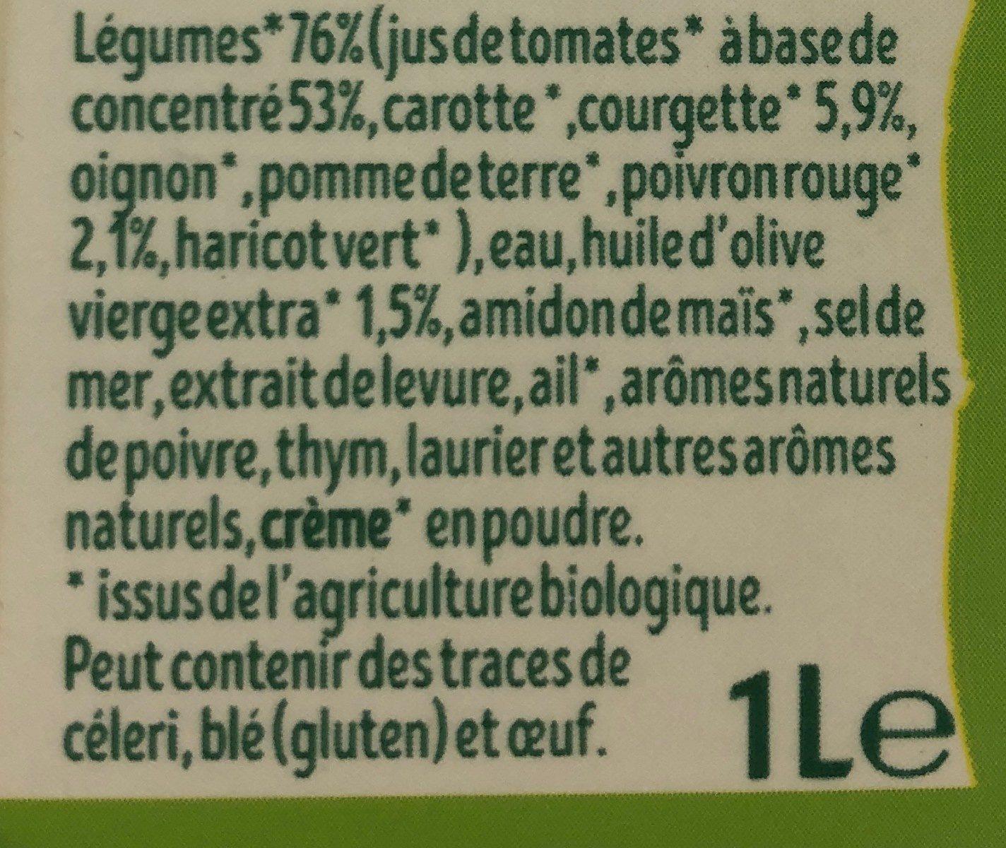 Velouté de Légumes du Soleil BIO - Ingrédients - fr