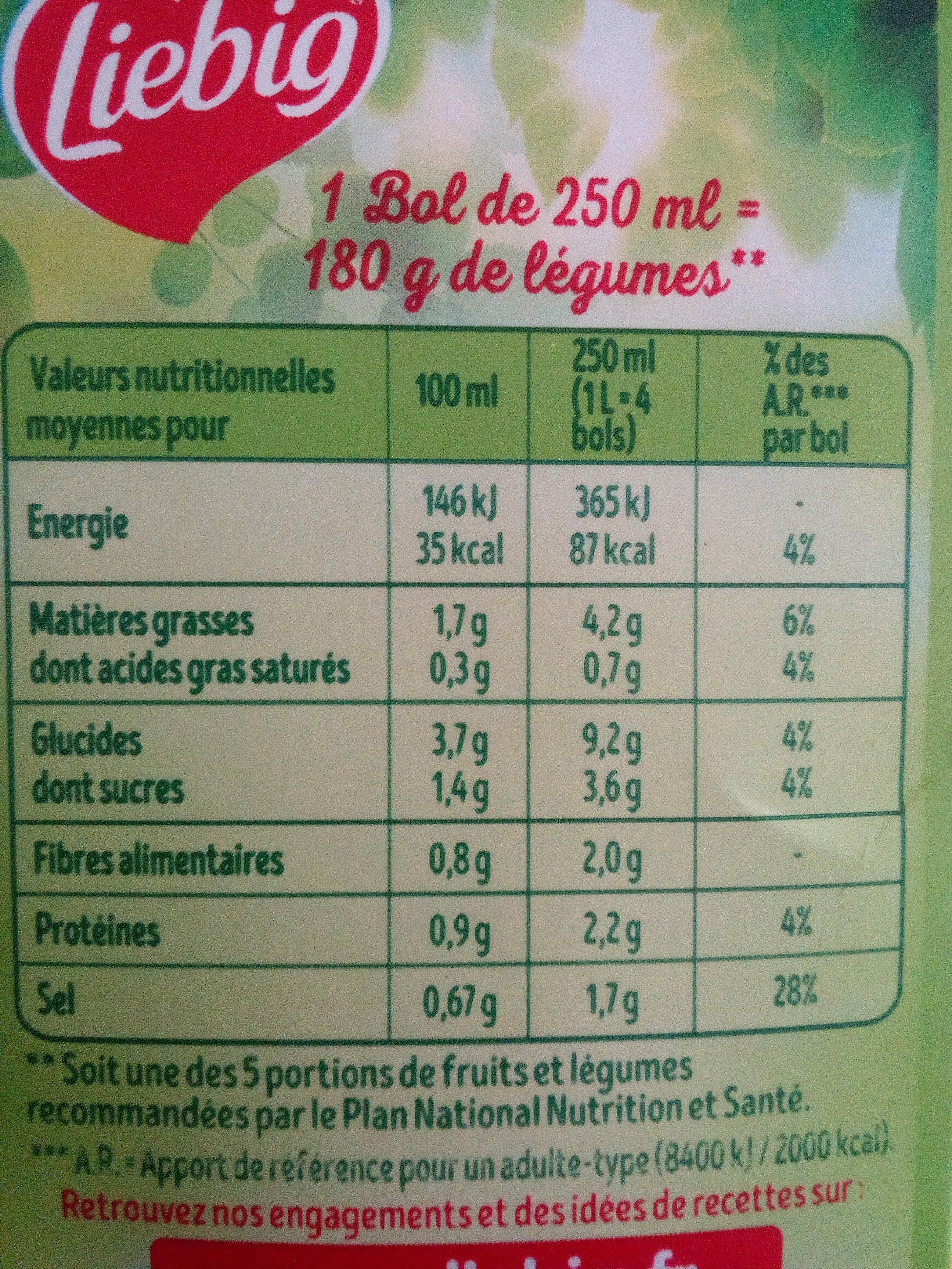 Velouté de Légumes du Soleil BIO - Informations nutritionnelles - fr