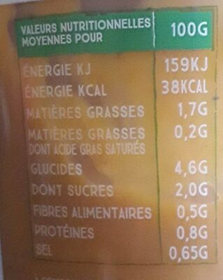Cup Carottes, Patate Douce & Cumin - Nutrition facts