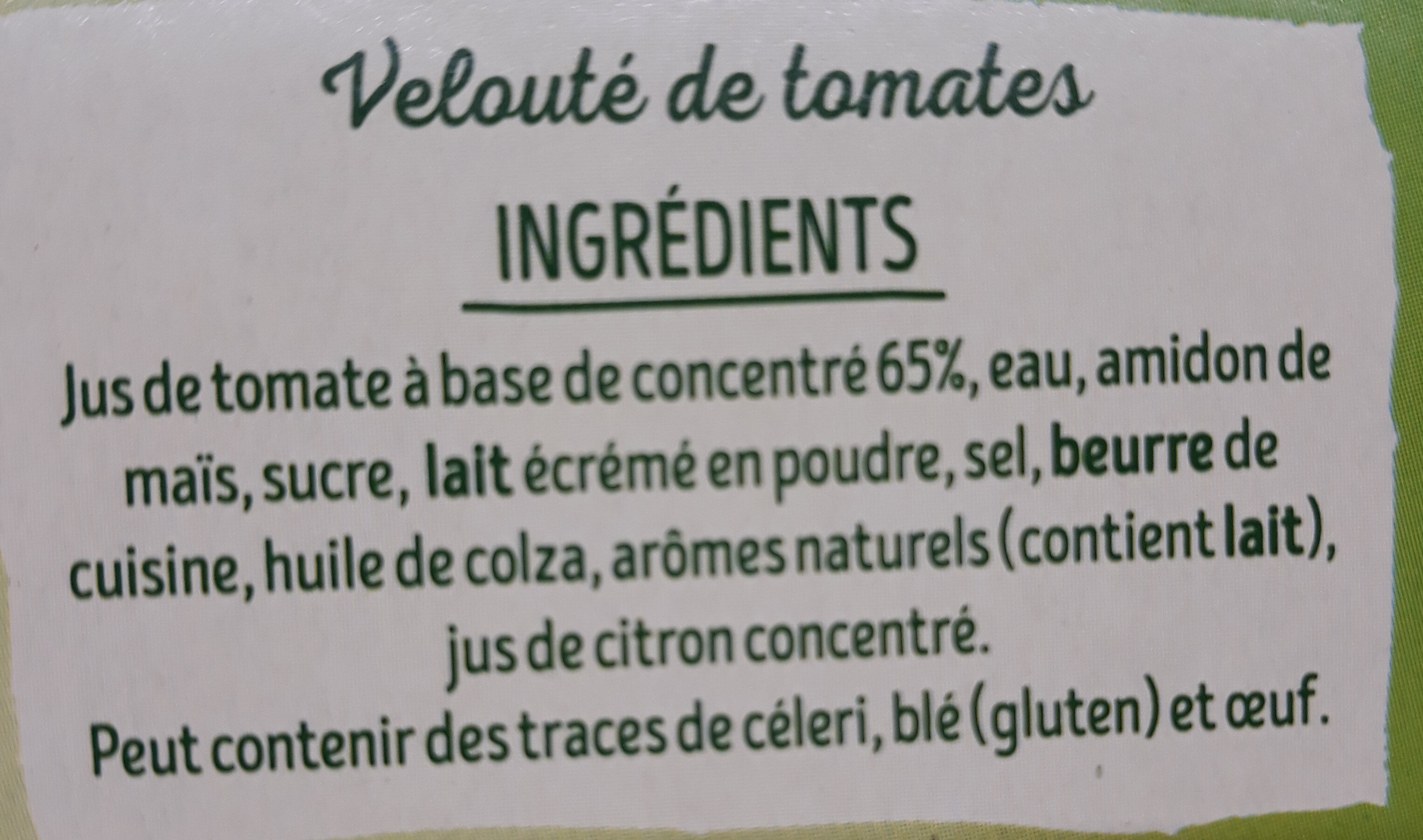 Veloute de tomate - Ingredients - fr