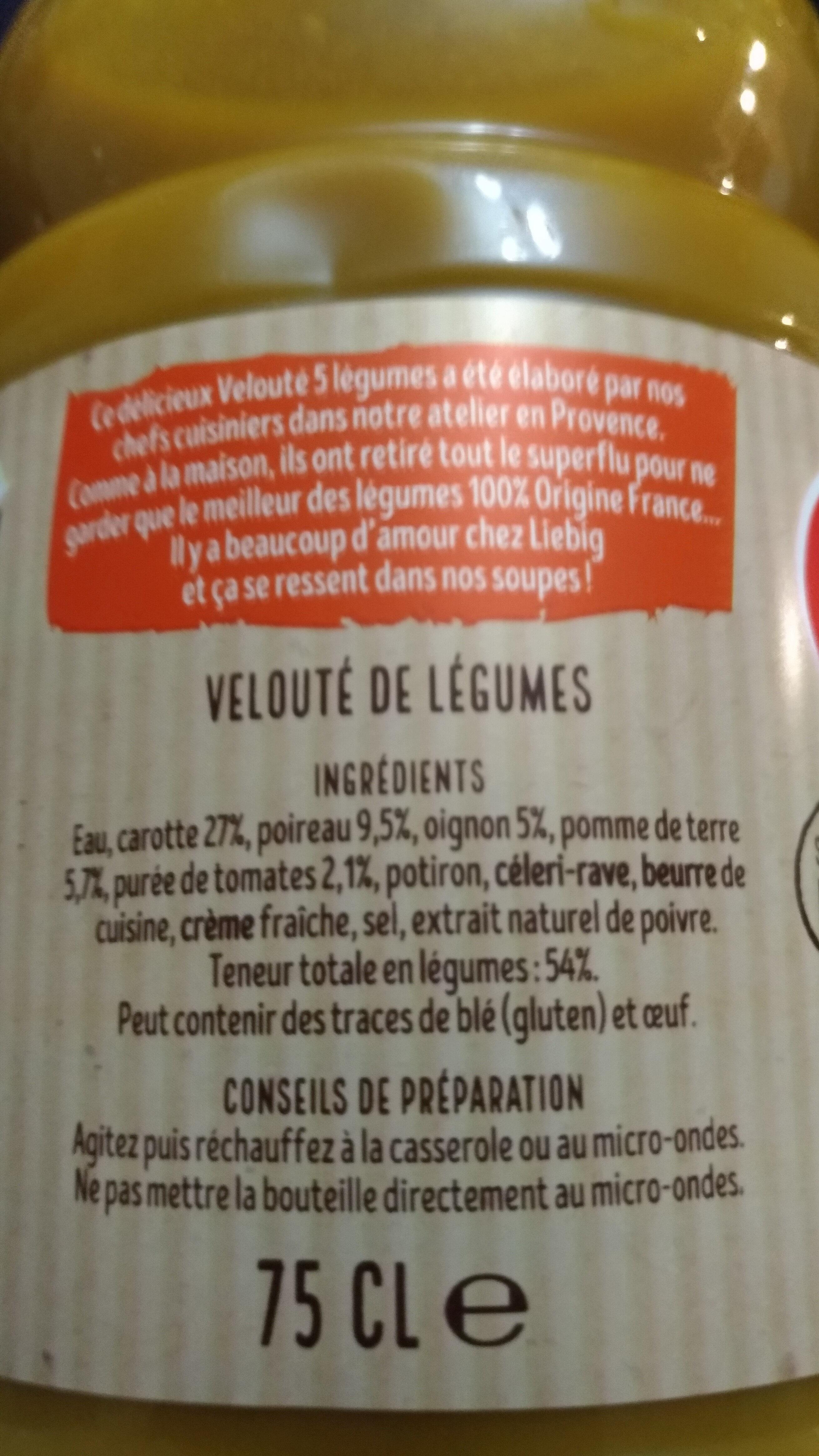 Velouté 5 légumes - Ingrediënten - fr