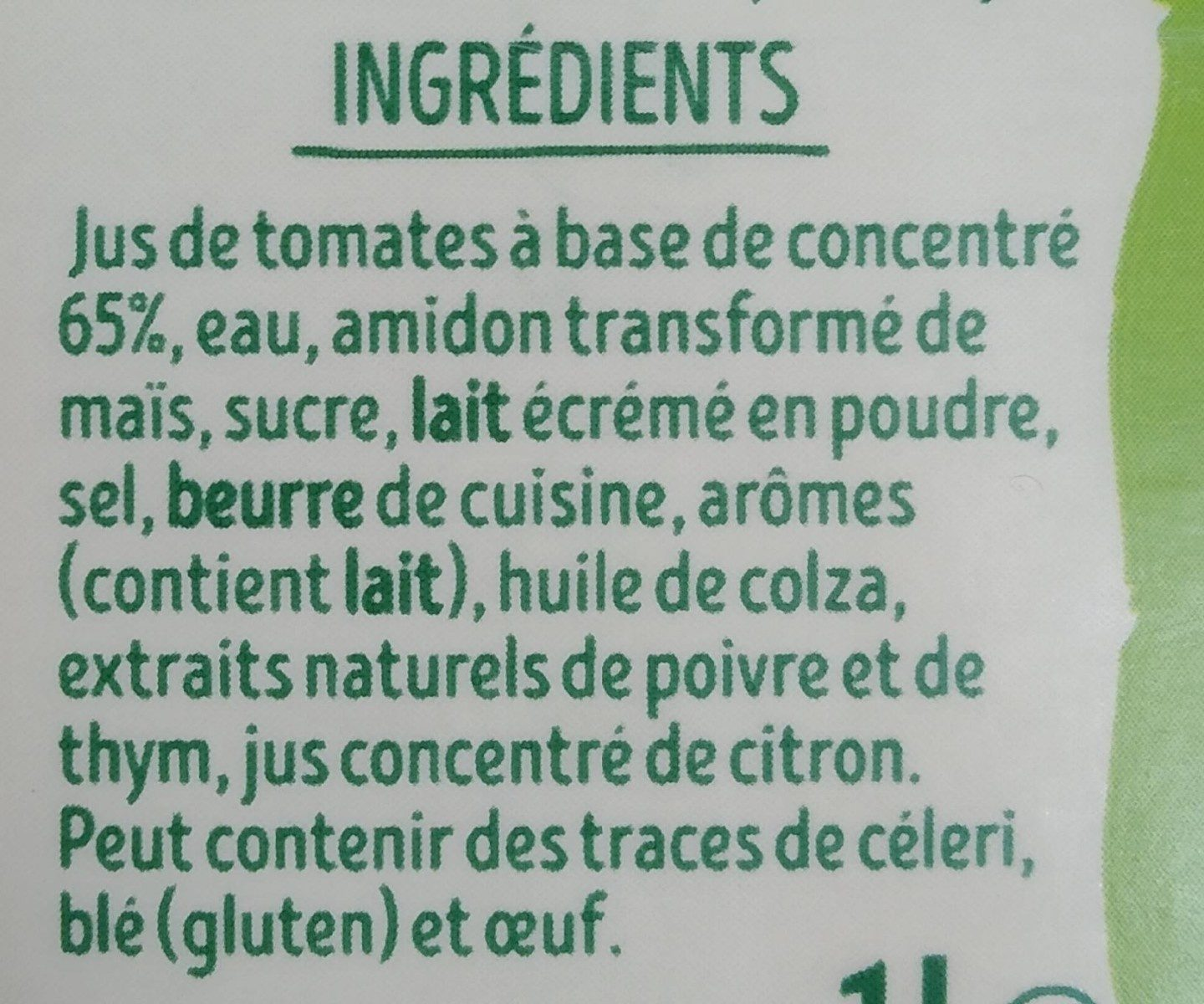 PurSoup' Velouté de Tomates - Ingredients