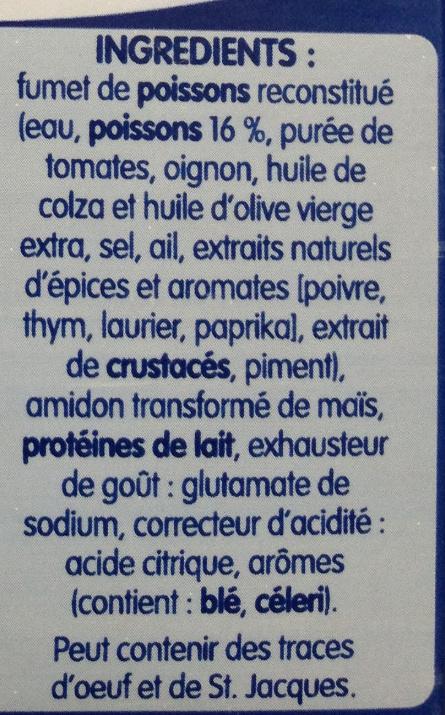 Soupe de Poissons aux Aromates - Ingredients - fr