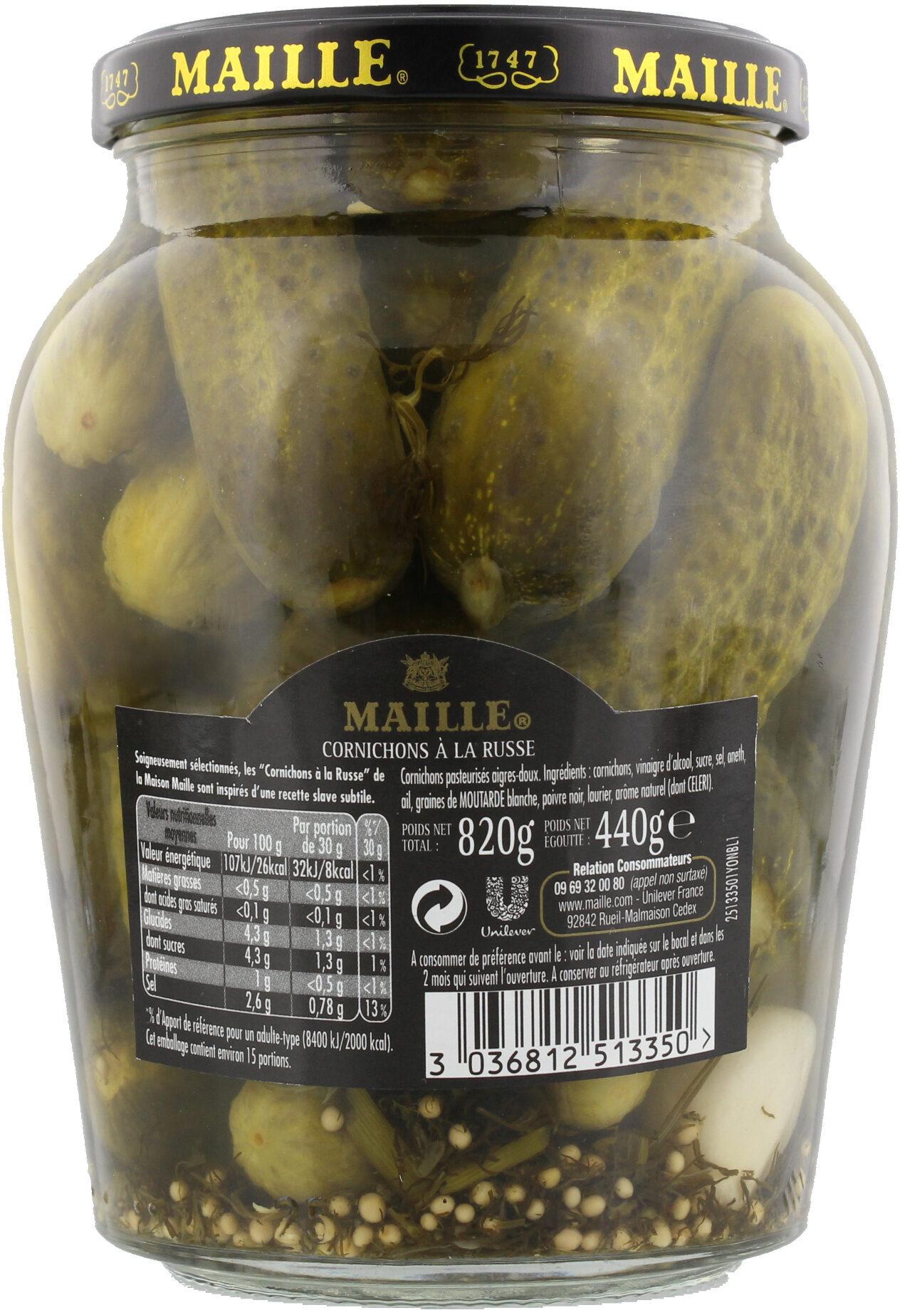 Maille Cornichons à la Russe Bocal 440g - Informations nutritionnelles