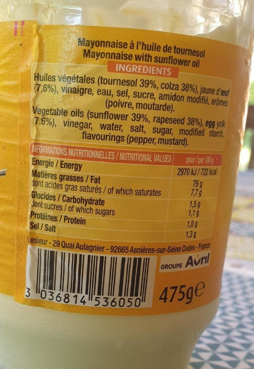 Mayonnaise - Nutrition facts - fr