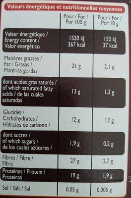 100% cacao non sucré - Informations nutritionnelles - fr