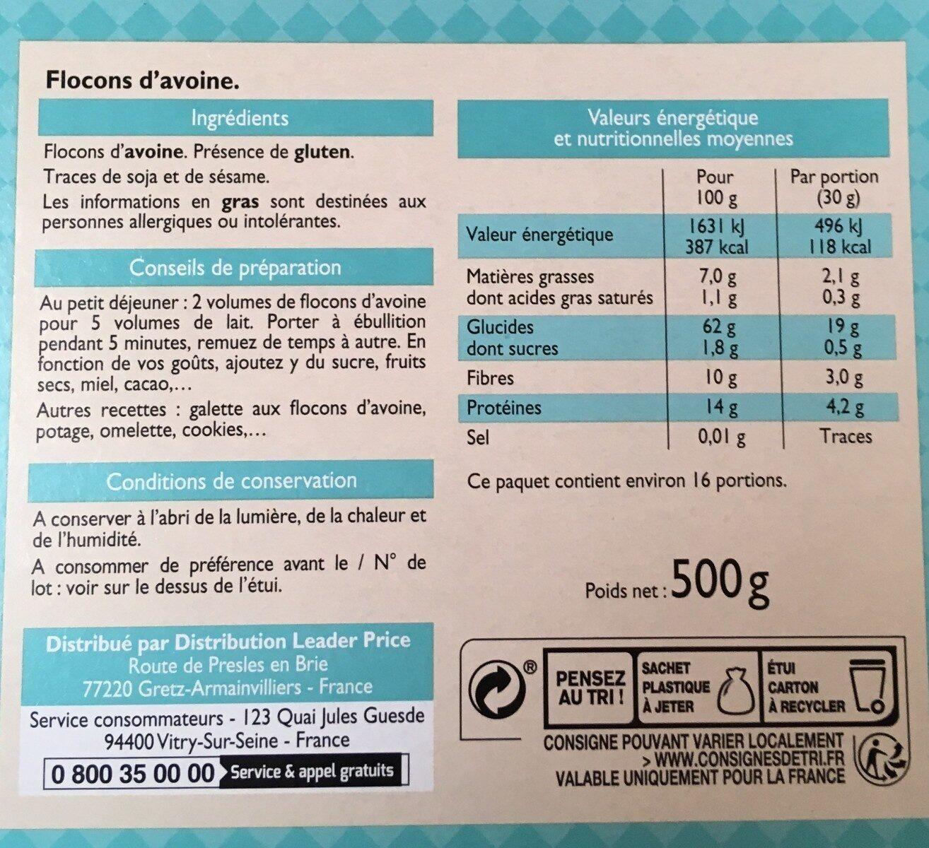 Flocons d'avoine - Informations nutritionnelles - fr
