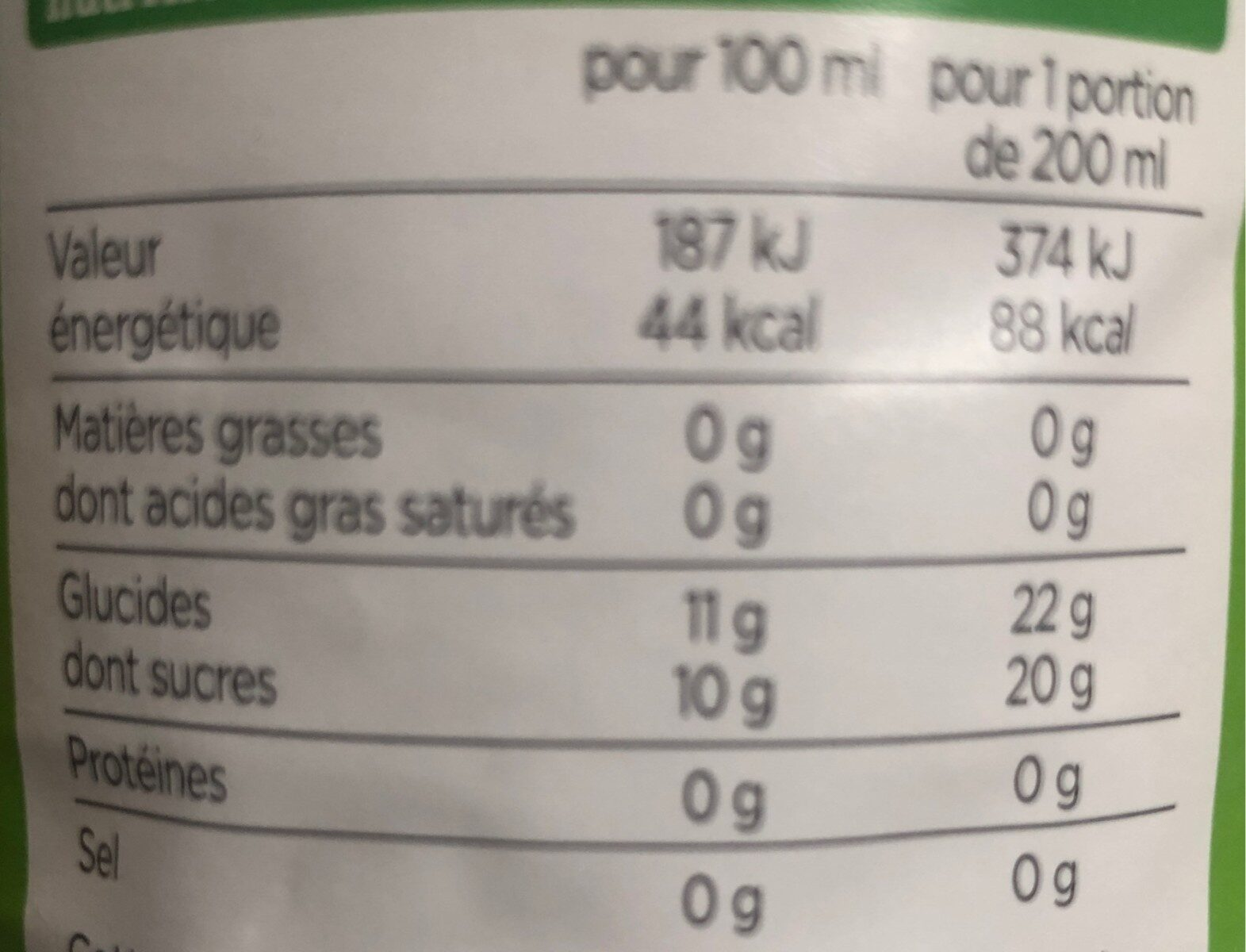 100% pur jus de pomme - Nutrition facts - fr