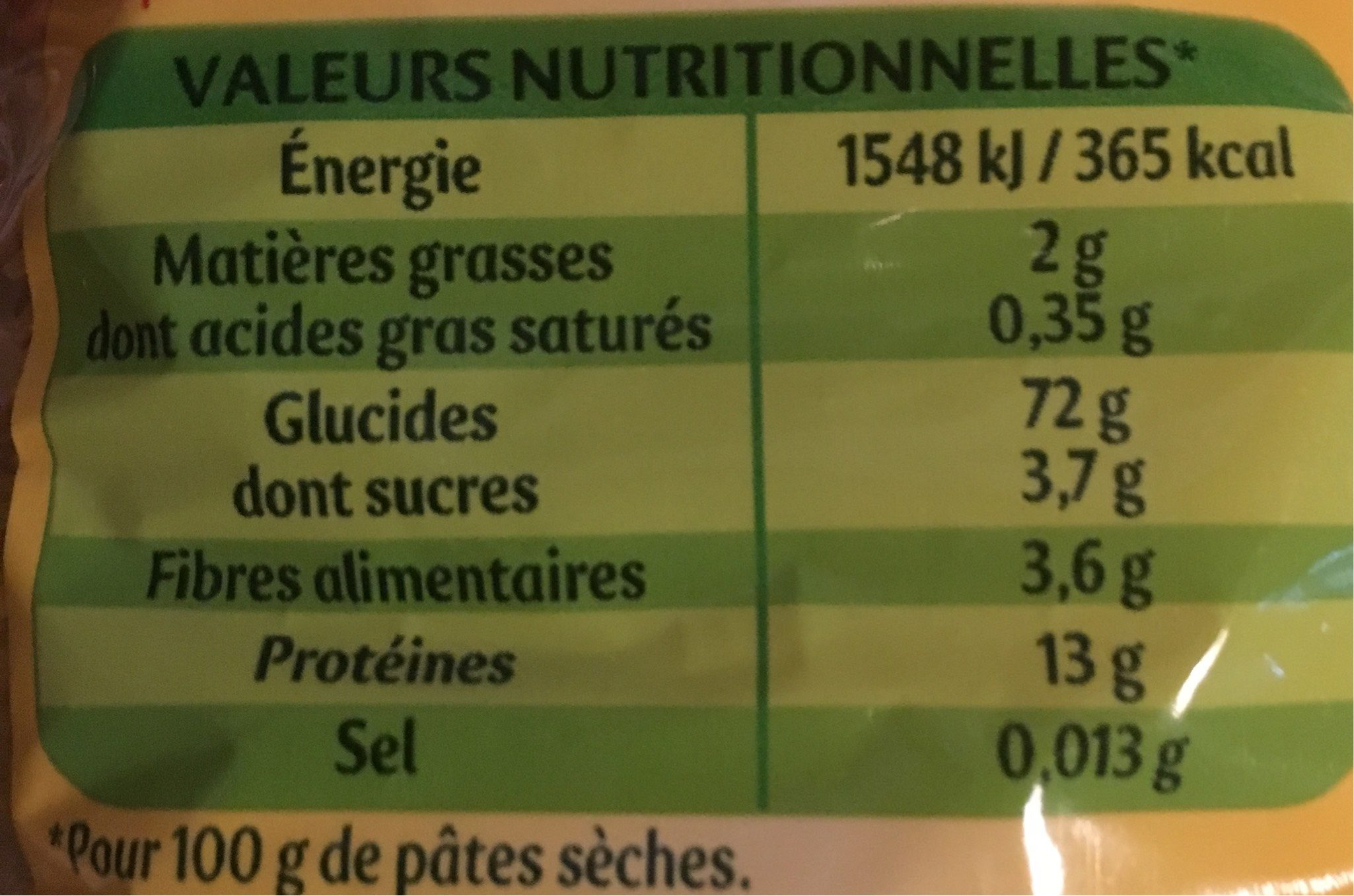 Cheveux d'Ange - Nutrition facts - fr
