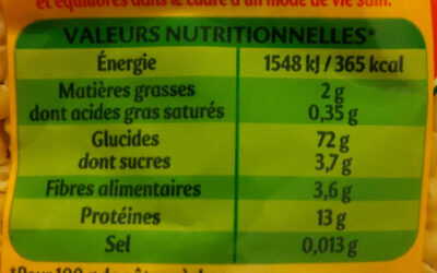 Coquillettes - Nutrition facts - fr