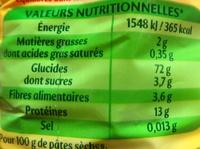 Nouilles fines - Informations nutritionnelles - fr