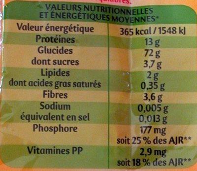 Pâtes Coudes Rayés - Nutrition facts - fr