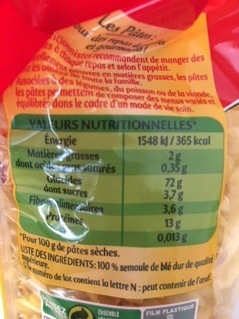 Panzani torti - Valori nutrizionali - fr