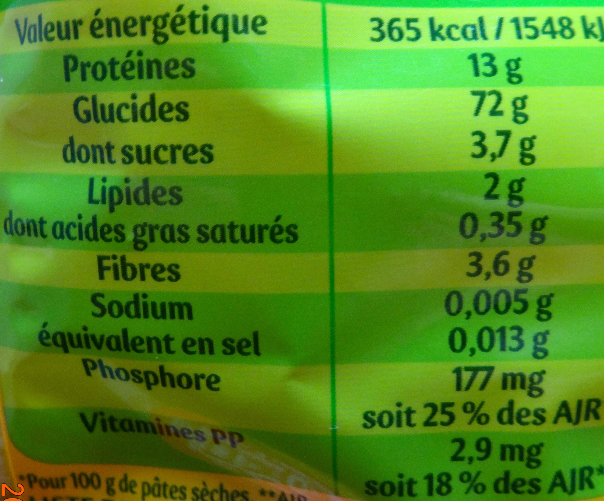 Penne Rigate - Nutrition facts - fr