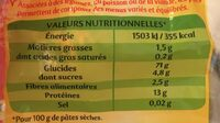 Panzani torti tomates & epinards - Nutrition facts - fr