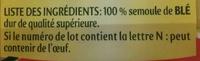 Pates panzani macaroni 500g (dia) - Ingredients - fr