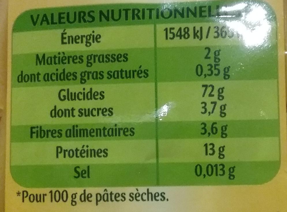 Pates panzani macaroni 500g (dia) - Nutrition facts - fr