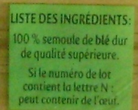 Panzani capellini - Ingredients - fr