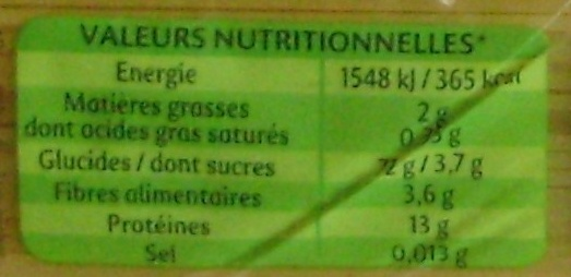 Panzani capellini - Nutrition facts - fr