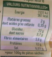 Panzani farfalle - Valori nutrizionali - fr