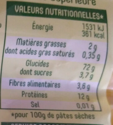 Panzani farfalle - Informations nutritionnelles - fr