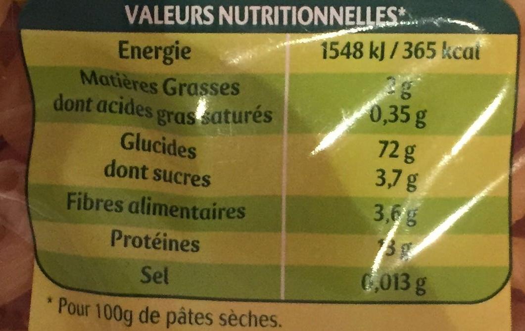 Panzani serpentini 3 minutes - Nutrition facts - fr