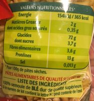 Coquillettes 3 Minutes - Informations nutritionnelles - fr