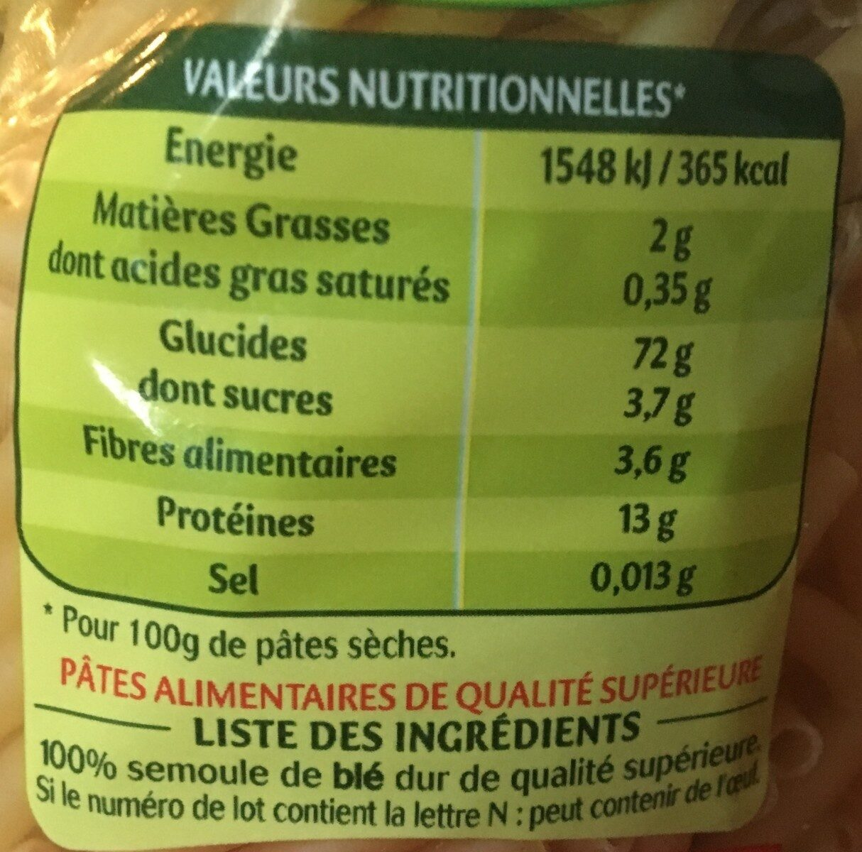 Macaroni 3 minutes - Voedingswaarden - fr