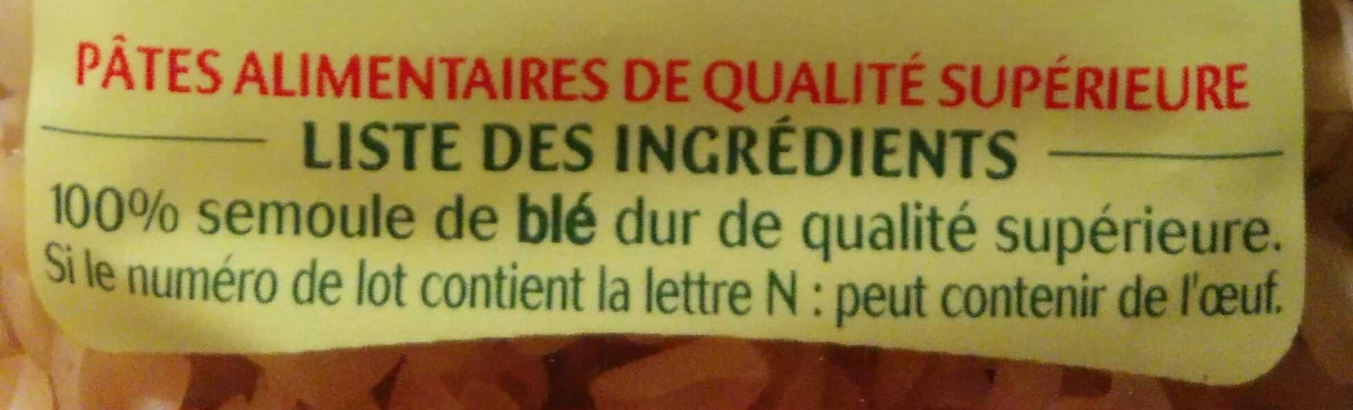 Les 3 Minutes, Torti - Ingredients