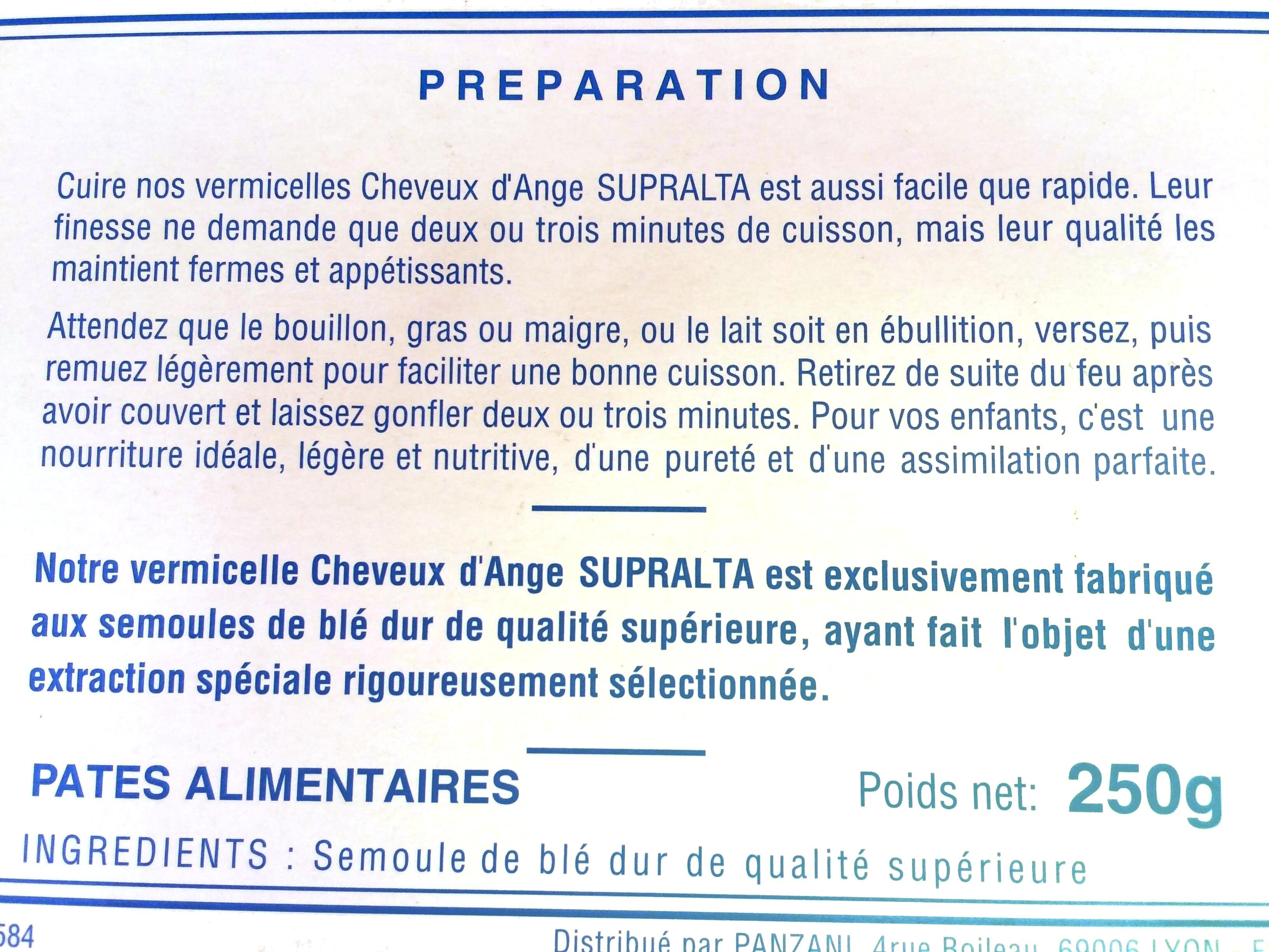 Vermicelles Cheveux d'Ange - Informations nutritionnelles - fr