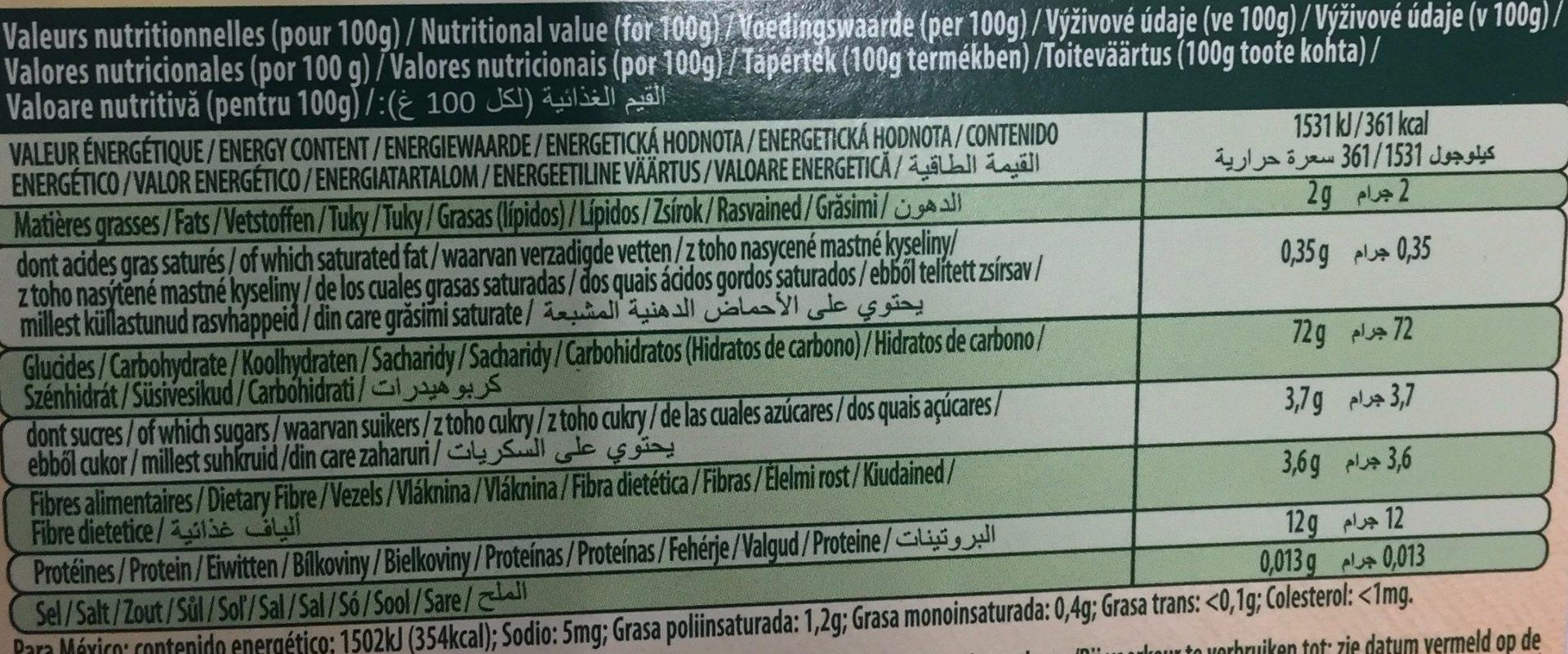 Panzani Canaelloni - - Información nutricional - es