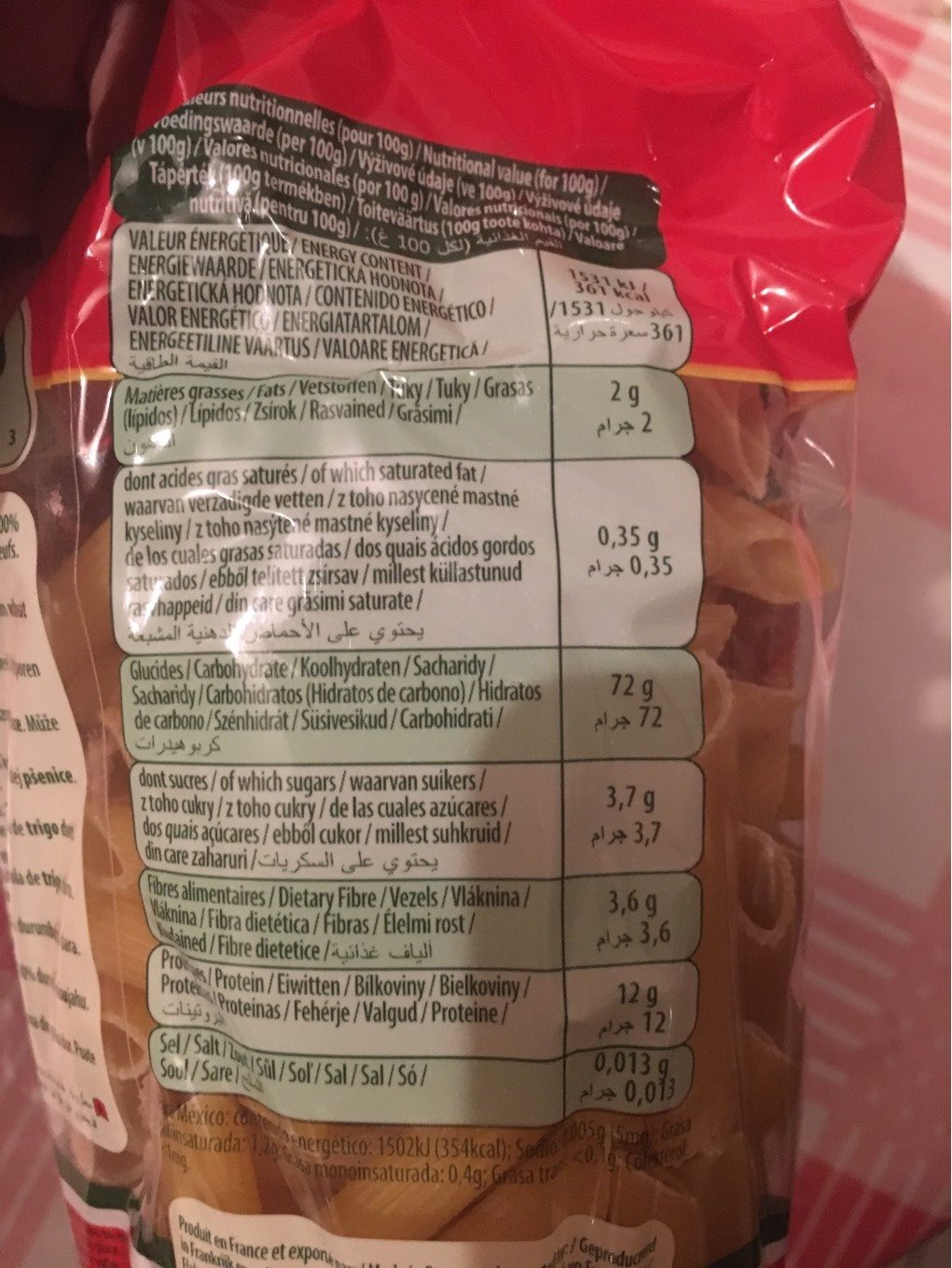 Pâtes Penne Rigate Panzani - Nutrition facts