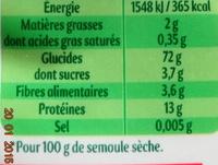 Semoule fine de qualité supérieure - Nutrition facts