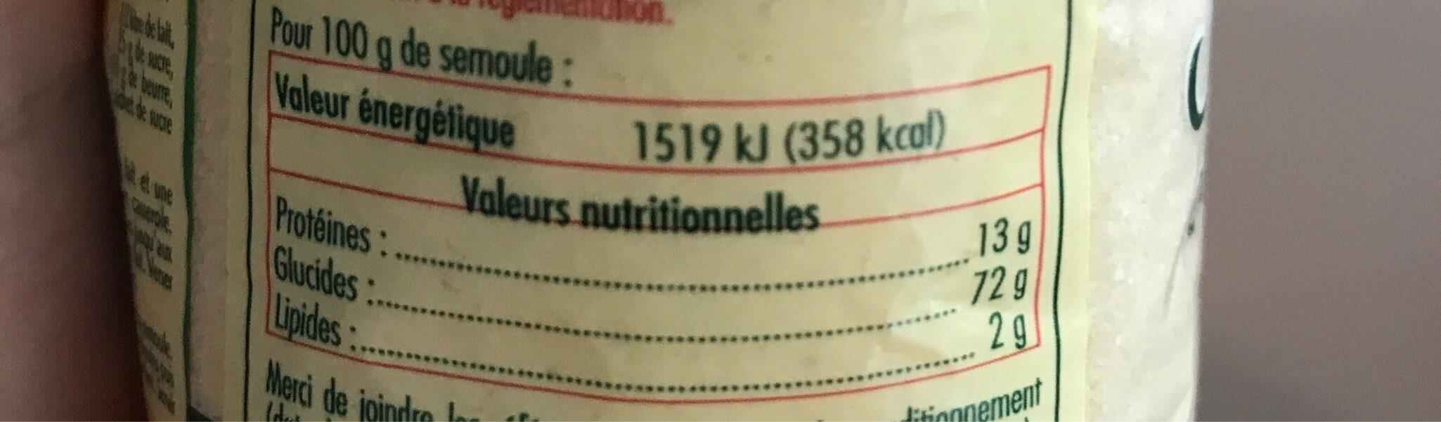 Pz semoule fine 500 v2 /6 - Informazioni nutrizionali - fr