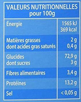 Graine de Couscous Moyenne - Voedingswaarden - fr