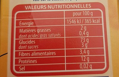 Lustucru couscous facile sc - Nutrition facts - fr