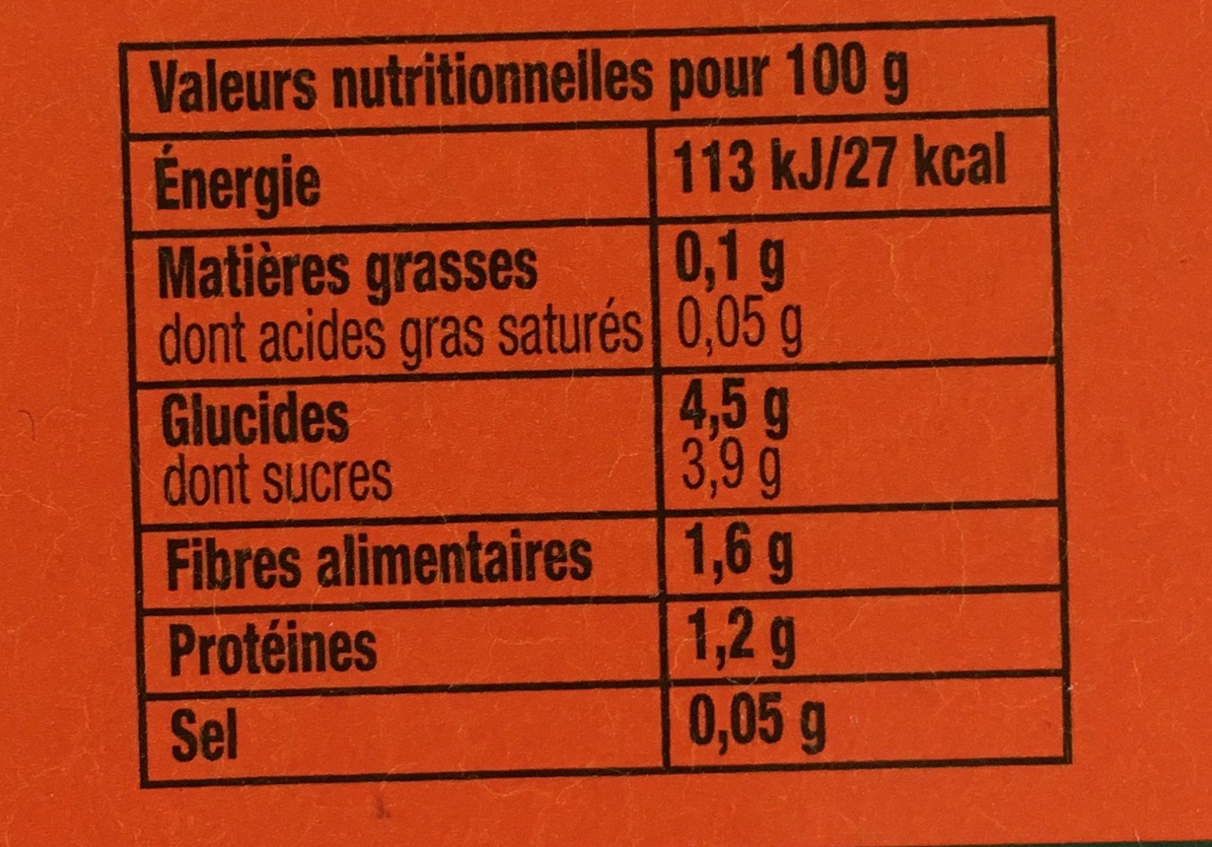 Tomacouli nature - Informations nutritionnelles