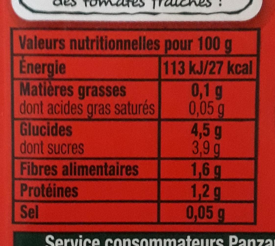 Panzani tomacouli nature - Nutrition facts - en