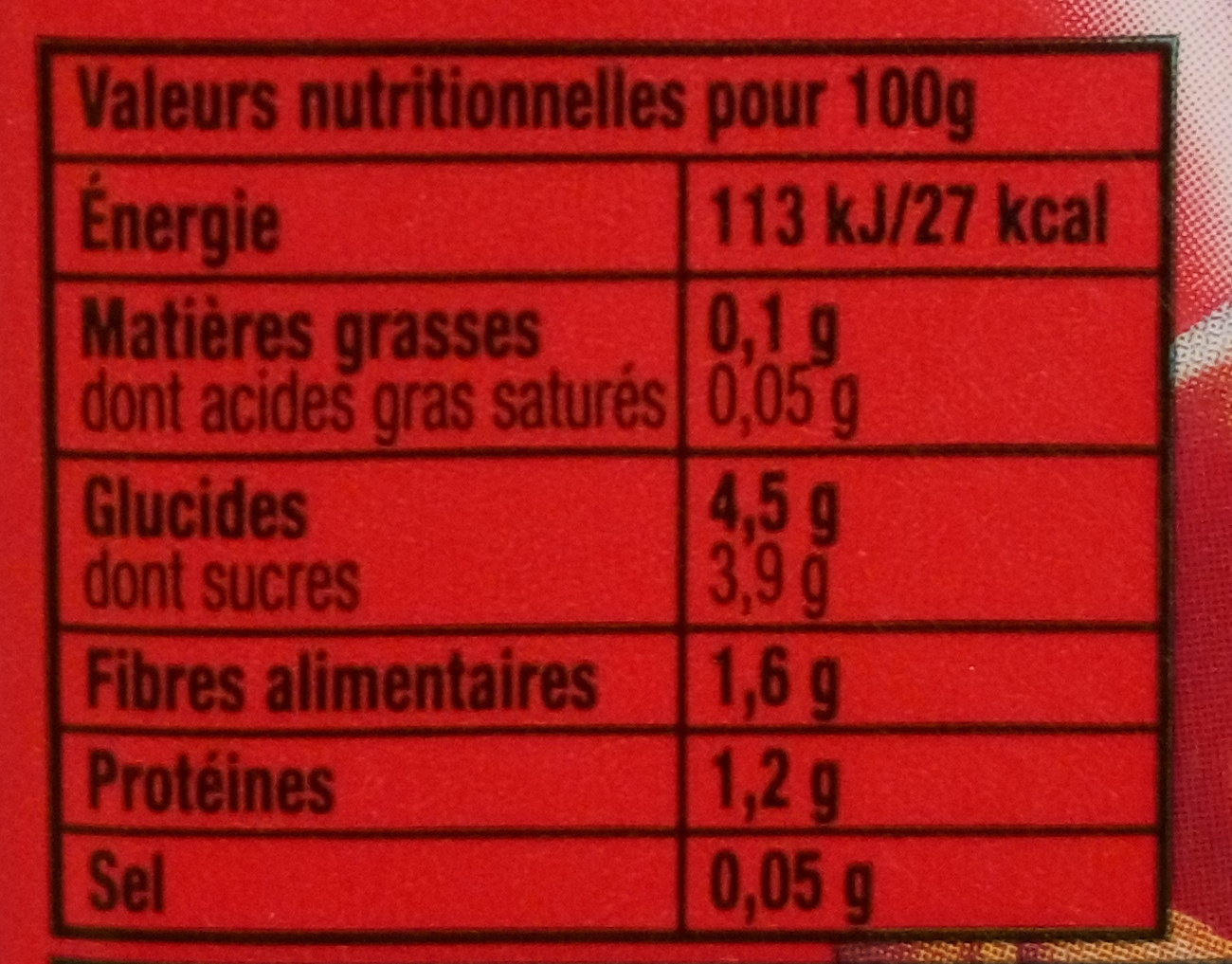Tomacouli Basilic - Informations nutritionnelles